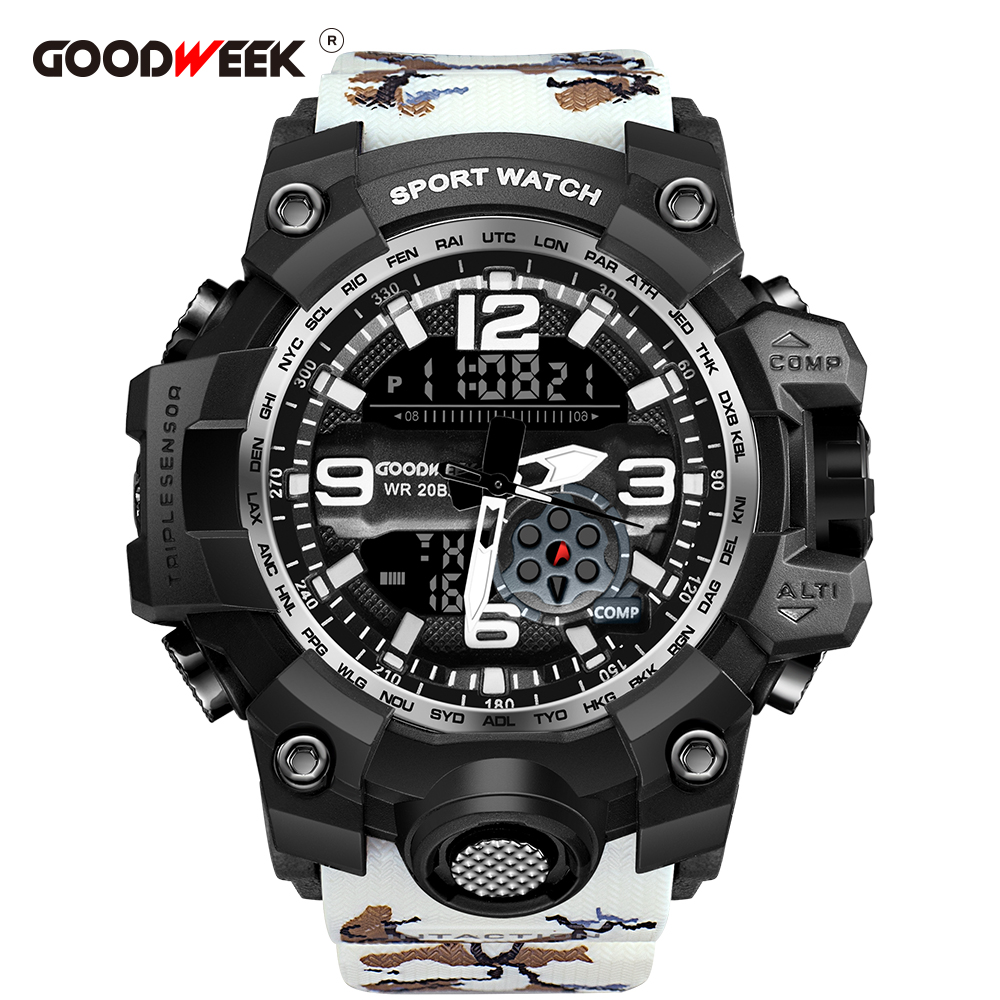 GOODWEEK Men Sport Watch Camouflage Military Waterproof Army Watch Dual Display Watches G Style Shock Resitant Relogio Masculino