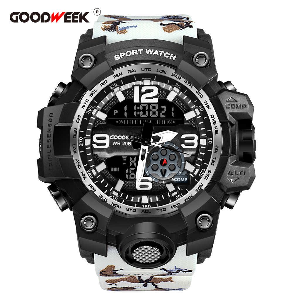 Goodweek relógio do esporte dos homens camuflagem militar à prova dmilitary água relógio do exército dupla exibição relógios g estilo choque resistant relogio masculino