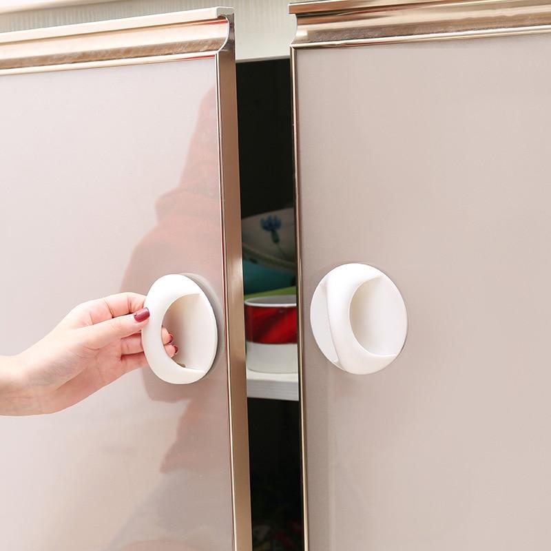 Round Self-adhesive Cabinet Door Handle Kitchen Wardrobe Handles Cocina Drawer Cabinet Handle Furniture Cupboard Pull Handles