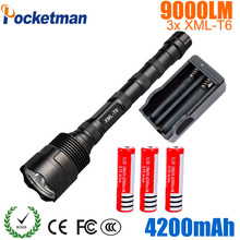 9000Lumen LED Flashlight XM-L 3T6 Power 5 Mode Torch Lamp Light Super Bright led light for Camping Hunting fishing
