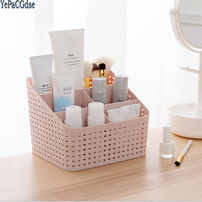 Multi-grid plastic creative desktop storage box cosmetic case remote control holder small objects Container makeup organizer