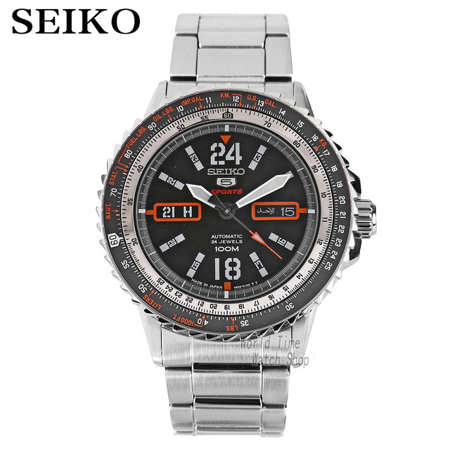 Seiko 5 Automatic SPORTS ST AVIATOR 24 jewels Men s Black dial watch Made  in Japan SRP347J1 SRP349J1 SRP213J1 9232c5f04e0