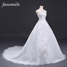 Fansmile Cheap Vintage Belt Long Train Wedding Dresses 2017 Robe de Mariee Sirene Vestidos Plus Size Bridal Dress Free Shipping
