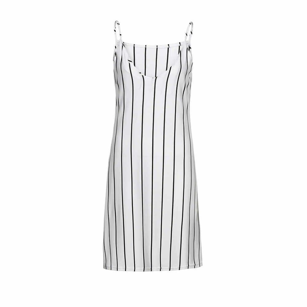 Women's Sleeveless Striped Sling Dress Swimwear WomenBeach Wear Cover Up Beach WomanVestidoPlaya V-neck Casual Beach Dress #D