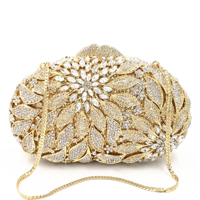 Luxury Rhinestone Gold Metal Leaves White Crystals Evening Clutch  2