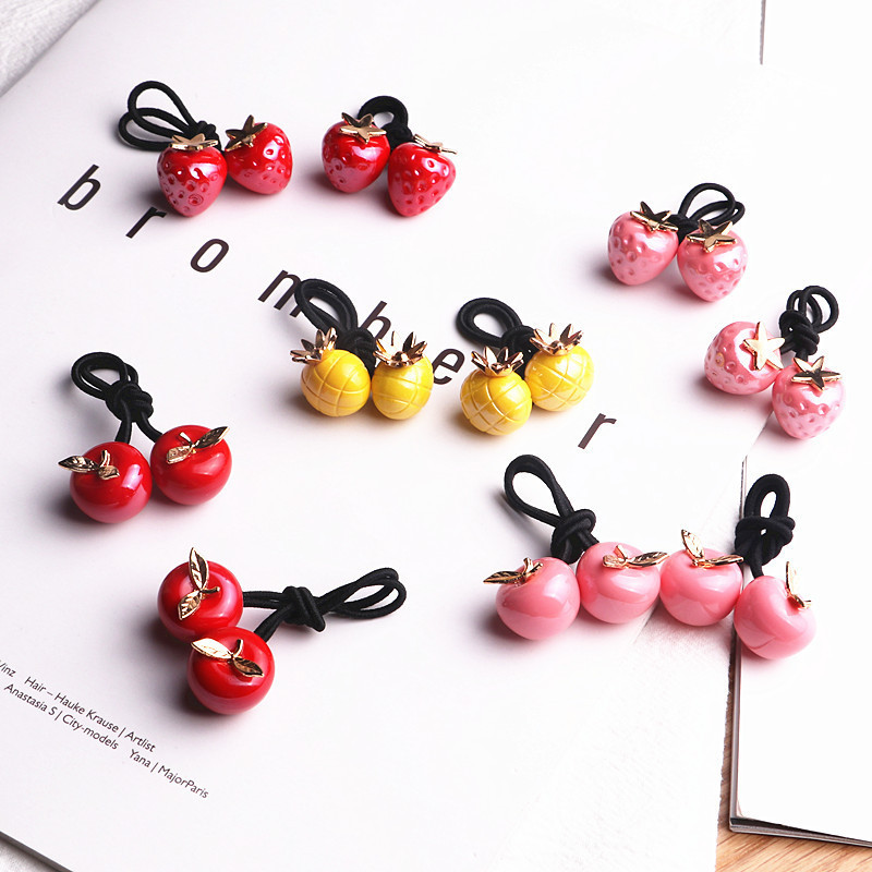 2PCS New Cute Colourful Fruit Princess Headwear Kids Elastic Hair Bands Children Ropes Girls Accessories Baby Headdress