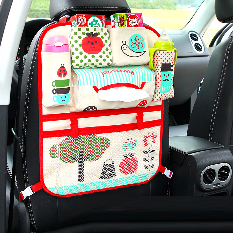 Cartoon Car Seat Back Storage Bag Organizer for Kids with Insulated Pocket Universal Stowing Tidying Protector Auto Accessoires