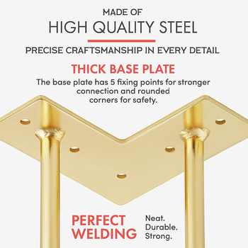 6 or 7Inch Gold Hairpin Legs 4 Easy to Install Metal Legs for Furniture Mid-Century Modern Legs for Coffee and End Tables Chairs