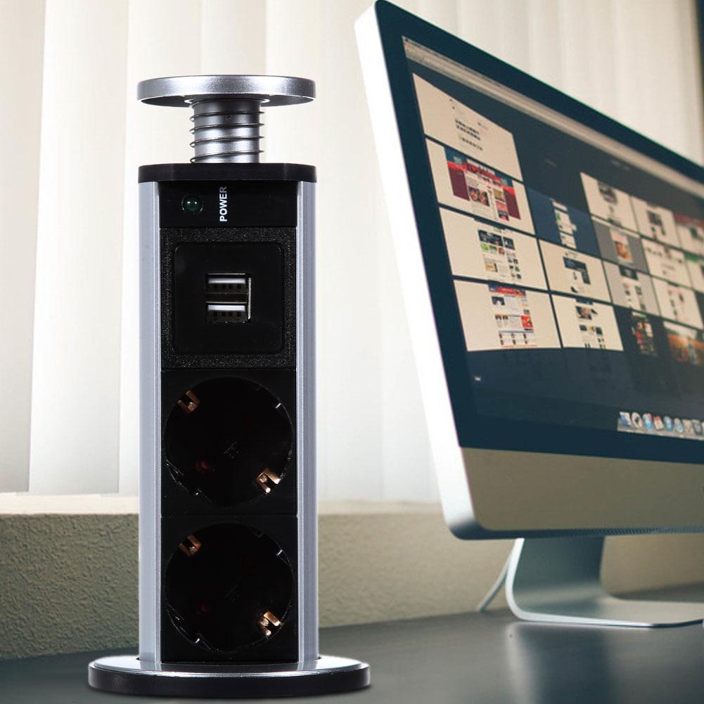 EU/UK PULL POP <font><b>UP</b></font> Electrical 3 Plug Socket 2 USB Outlet <font><b>Kitchen</b></font> Table Socket Retractable for Countertops Worktop