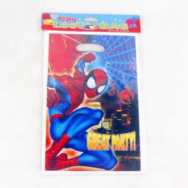 4ca3db960d9 50 stks/partij van gelukkige verjaardag spider man thema Plastic tassen  Cadeau voor Kinderen Verjaardagsfeestje