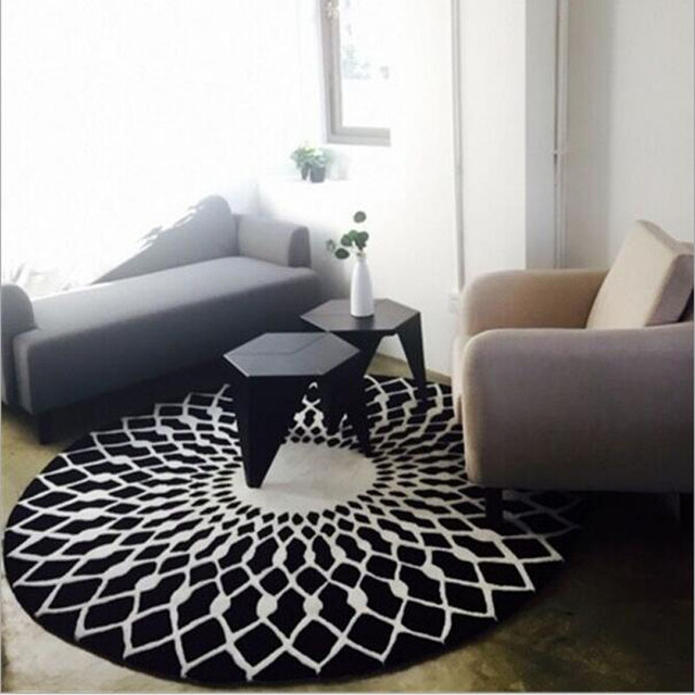 Creative Polyester Yoga Mats Flannel Round Carpet For Living Room ...