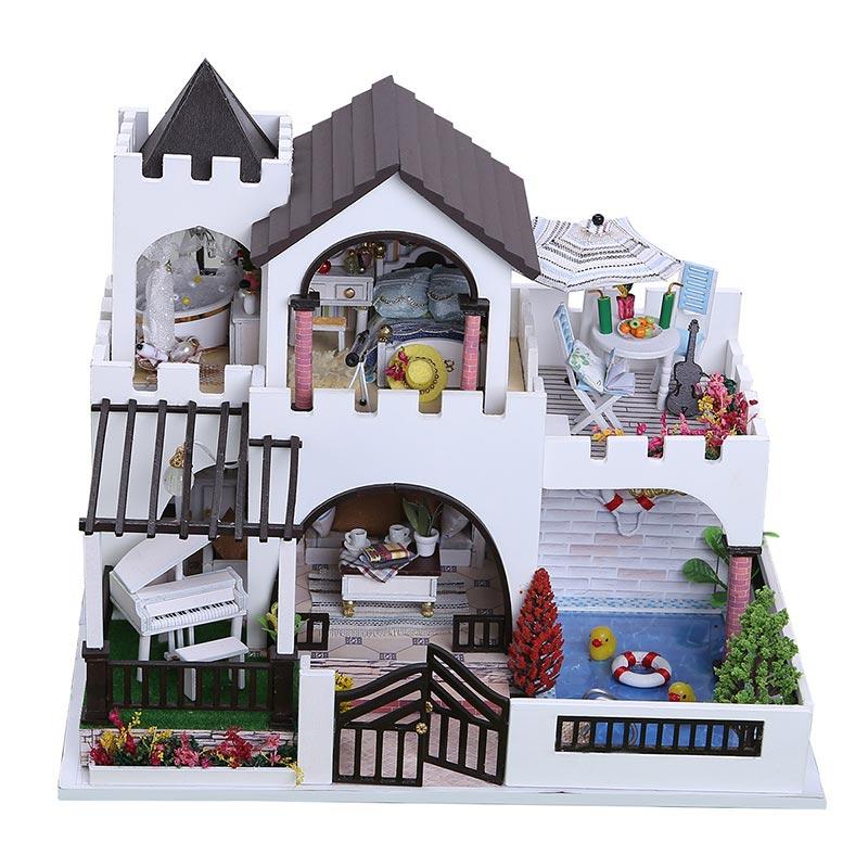 Bricolage maison de poupée meubles en bois mon rêve château filles jouet à la main maison de poupée en bois décoration bricolage jouets pour enfants fille cadeau - 3