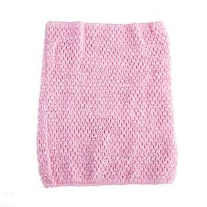 Вязаный топ-труба 9x10 дюймов, топ-пачка для маленьких девочек, вязаная юбка-американка топ-пачка, вязаная крючком повязка на голову, смешанные цвета, 10 шт. в партии - Цвет: Baby pink 10pcs