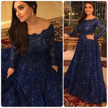 Navy Blue Arabic Evening Dresses 2016 A Line Long Sleeve Rhinestone Sequins Top Scoop Neckline Durban Style Prom Party Dress
