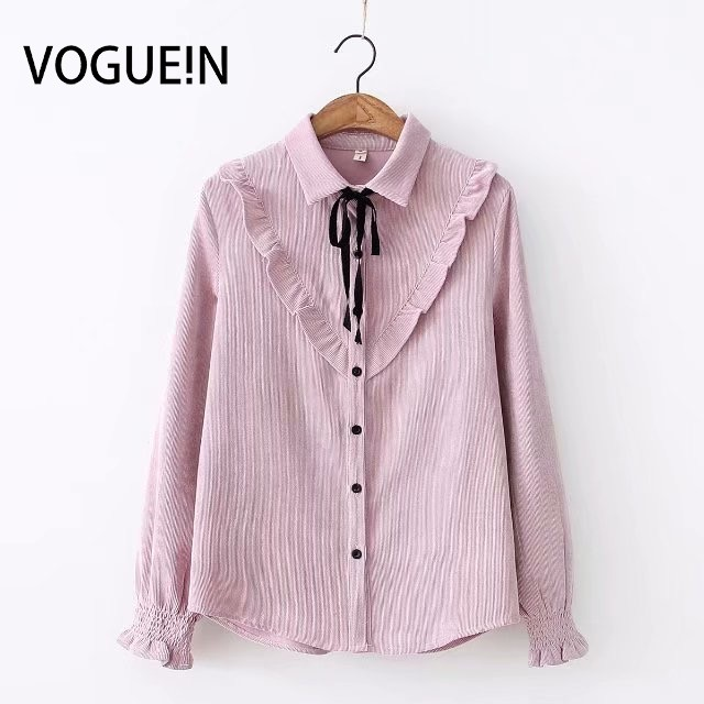 VOGUEIN New Womens Autumn Corduroy Tie Ruffled Blouse Shirt Tops 4 Colors Wholesale