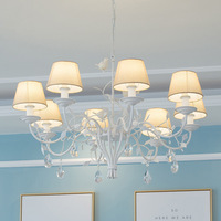 Villa Living Room white Metal Chandeliers Nordic lighting Luminaria Led Shade iron Ceiling Chandelier Light Vintage Lustre led