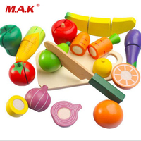 14/15pc Safe Parent child Playing Wooden Fruits Vegetables Kitchen Cutting Toy Pretend Educational Food Toys Set