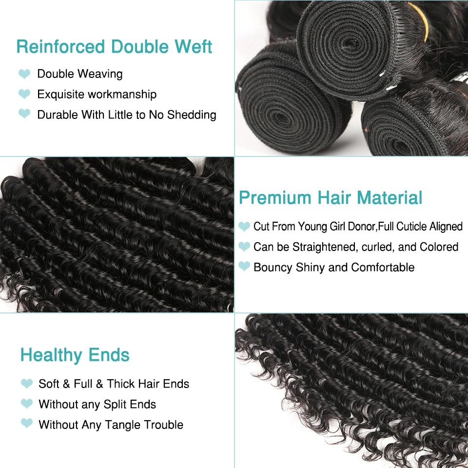 Black Pearl Human Hair Deep Wave Bundler Med Lukning Non-Remy - Skønhed forsyning - Foto 3