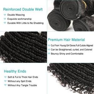 Image 3 - Czarne perły zestawy z głębokimi falami z zamknięciem Remy malezyjskie włosy 30 Cal zestawy z zamknięciem 3 wiązki z zamknięciem ludzkie włosy