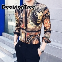 2019 summer vintage print casual men shirt long sleeve plus blouse male shirts fit clothing quality