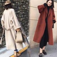 Casaco Feminino 2018 Fashion Autumn Winter Women Woolen Coats Blend Wool Long Trench Coat Female Plus Size Loose Overcoat A1707