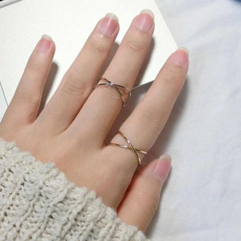 2018 Korean Fashion Simple Gold & Silver Color Geometric Hollow Out Metal Cross Joint Rings for Women Girls Jewelry Wholesale