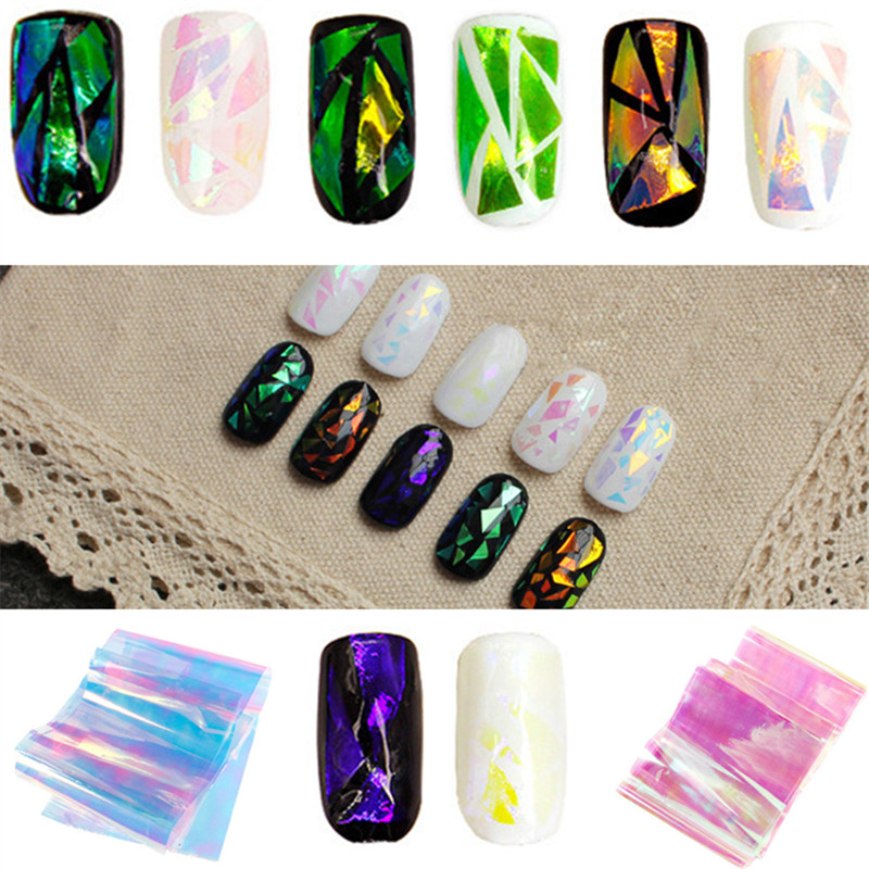 10 Piece Self Adhesive Decorative Nail Art Strip Hologram Tape With
