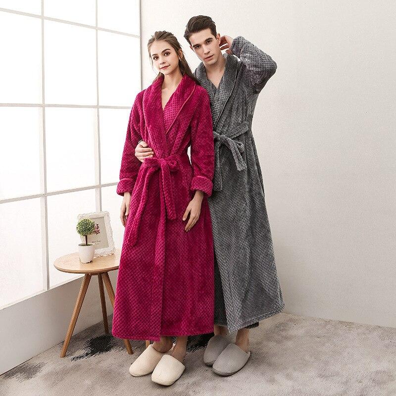 Unterwäsche & Schlafanzug Qysz Herbst/winter Liebhaber Robe Flanell Lange Robe Dicke Homewear Auswahlmaterialien