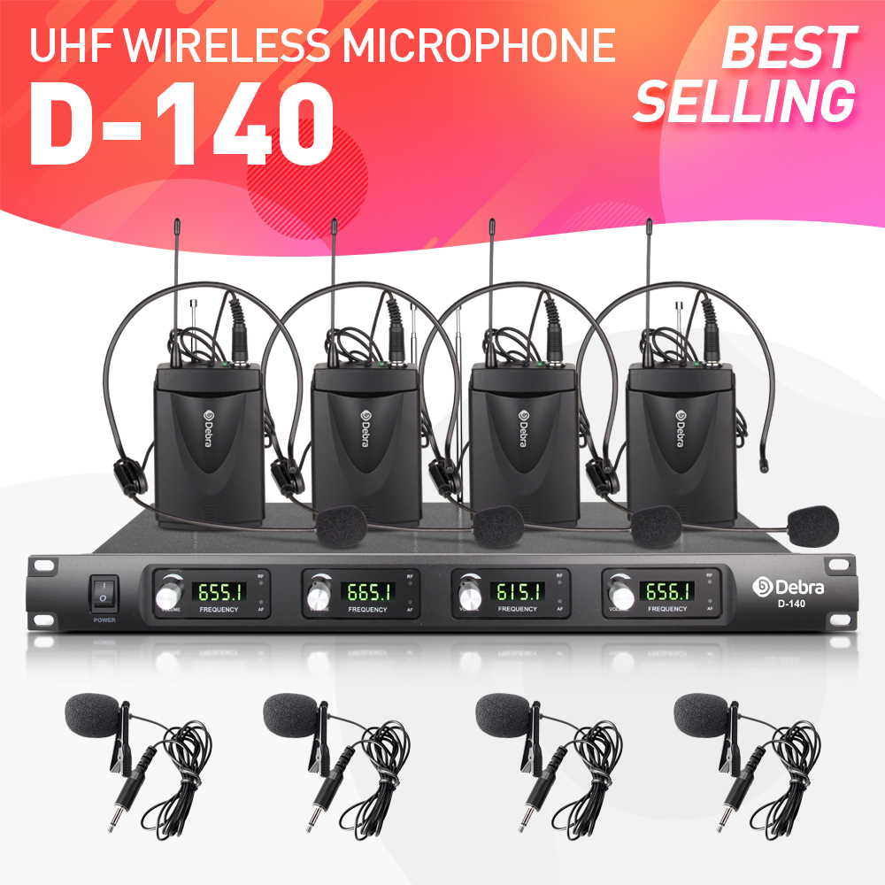Top quality!!! Debra Audio D-140 4 Channel with 4 Lavalier & 4 Headset Mic UHF Wireless Microphone System for stage Peformance