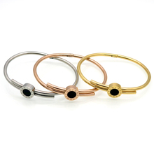 Black Stone, Gold Or Rose Gold Or Silver Roman Numeral Engraving Bangle