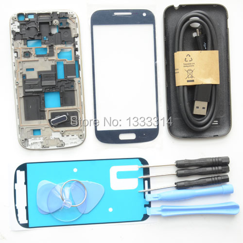 Azul original completa habitação para galaxy s4 mini i9190 i9195 frente moldura de vidro ferramentas adesivas chassis tampa traseira peças de reposição