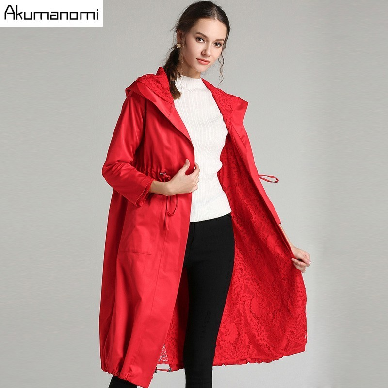 Autumn Spring   Trench   Black Red Hooded Full Sleeve Pocket Lace-up Women's Coat High Quality Plus Size 5XL 4XL 3XL 2XL XL L