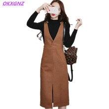 OKXGNZ Spring/Autumn Women's Dress 2017 Fashion Costume Woolen Vest Dress Solid Color V Collar Casual Sexy Dress Plus Size A053