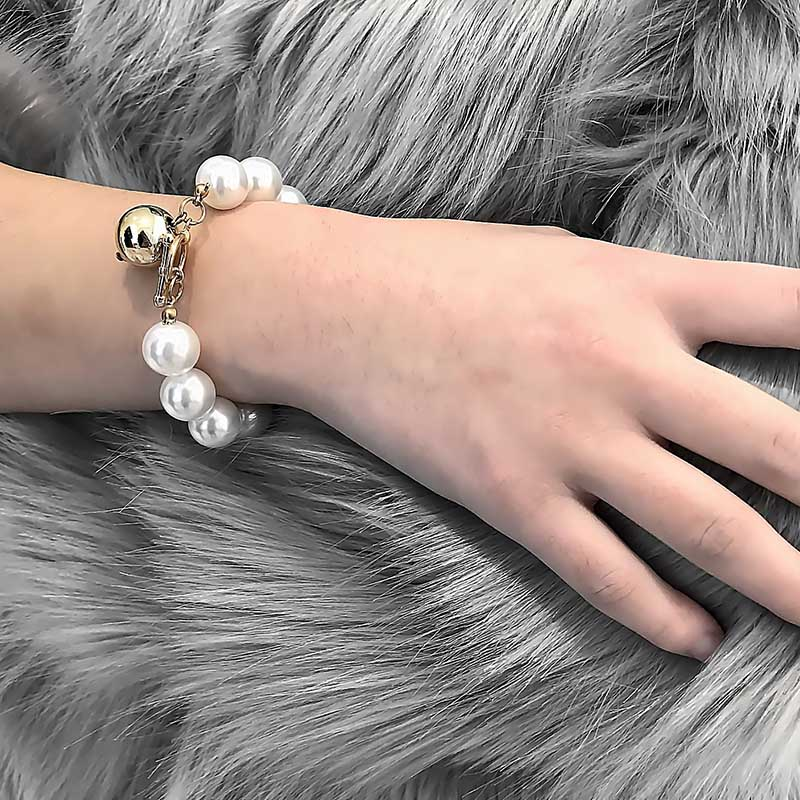 Chain & Link Bracelets Women Faux Pearl Bracelet Lady Novelty Big Beads Bangles Jewelry Party Gift Kqs8 Driving A Roaring Trade