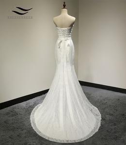 Image 3 - Свадебное платье, реальные фотографии, белое кружевное дешевое свадебное платье Русалка со шлейфом, 2018, винтажное свадебное платье с поясом, 2018
