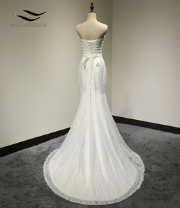 Image 3 - Bridal Wedding Gown Real Photos White Lace Cheap Mermaid Wedding Dress Train 2018 Vintage Sash vestido De noiva 2018 SLD W001