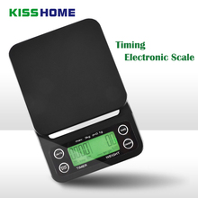 Portable 3kg/0.1g 5kg/0.5g Coffee Beans Scale With Timer Electronic Digital Kitchen Scale High Precision LCD Electronic Scales new portable milligram digital scale 30g x 0 001g electronic scale diamond jewelry pocket scale home kitchen