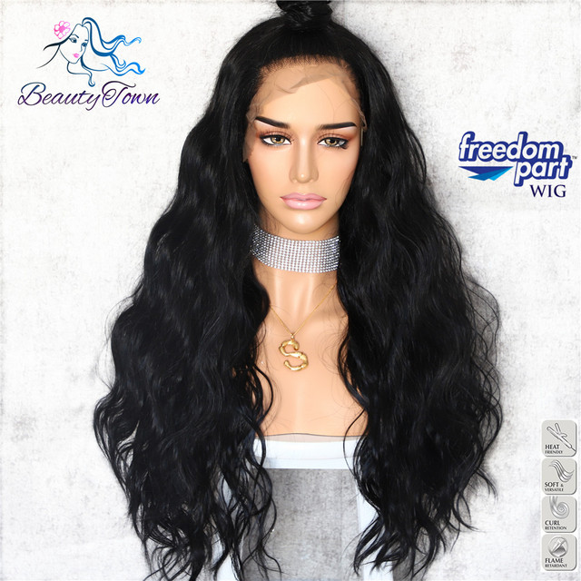 BeautyTown Black Color 13x6 Big Lace Free Part Futura Heat Resistant No Tangle Hair Daily Makeup Layer Synthetic Lace Front Wigs