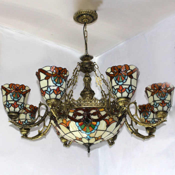 Fumat Stained Glass Chandelier European Vintage Glass Suspension Light Living Room Study Room Hanging Lamp Pendientes Lights