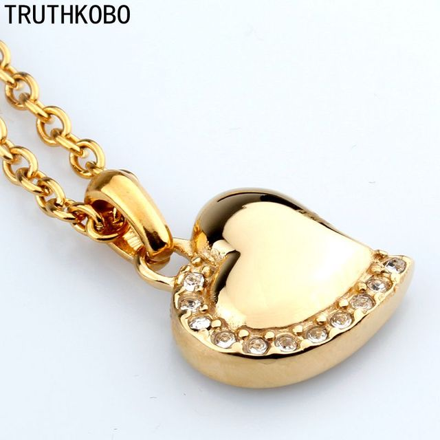316L Stainless Steel Heart Gold Plated Cremation Jewelry Necklace Pendant For Ashes Jewelry