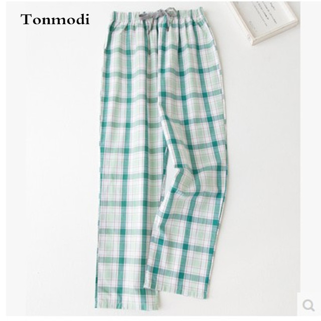 Women's Sleep Pants Autumn 100% Cotton Woven Plaid Lovers Pajama Trousers Air Conditioning