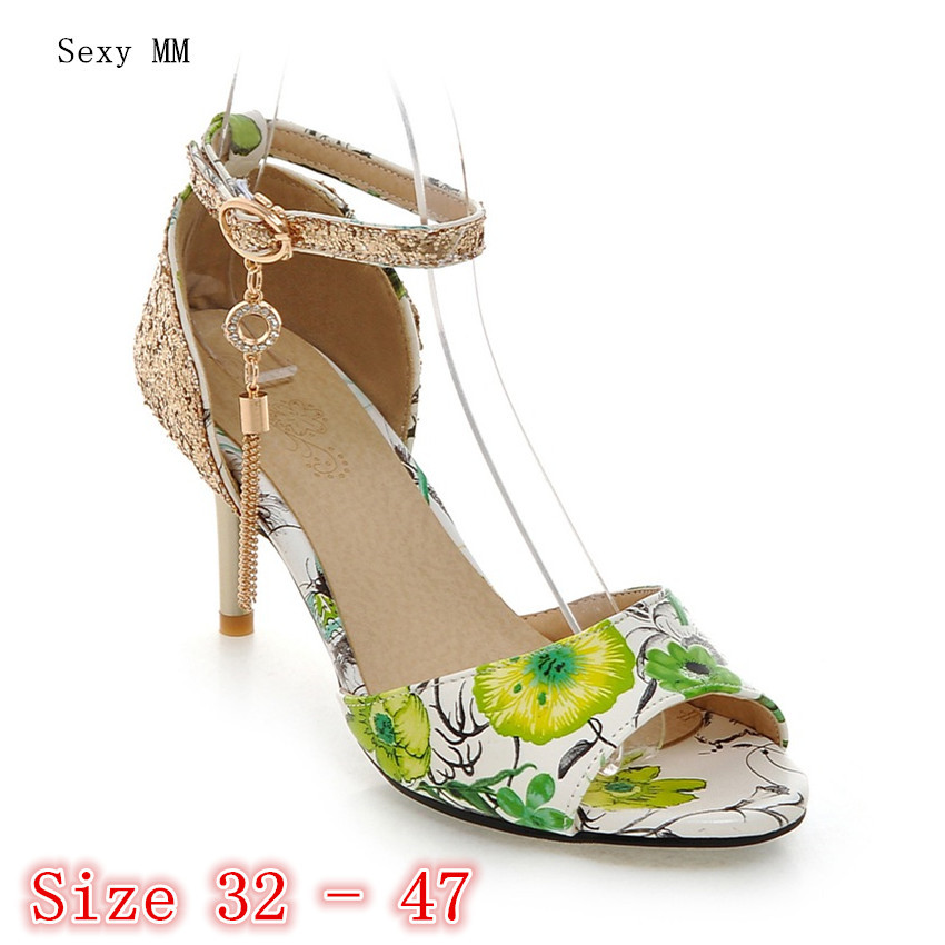 Peep Toe Mulheres Sandálias de Salto Alto Sapatos de Mulher De Salto Alto Sandálias Gladiador Bombas pequeno Plus Size 32 33-40 41 42 43 44 45 46 47