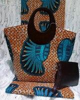 (3 шт./компл.) 6 ярдов orange и темно зеленый Нигерия Анкара принты с сумки и сумочки в африканском стиле Модные текстильные Mar 8 2018