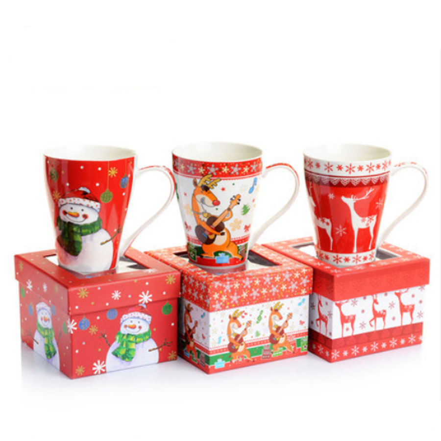 buy high quality christmas elk snowman ceramic christmas cup mug gift box cute. Black Bedroom Furniture Sets. Home Design Ideas