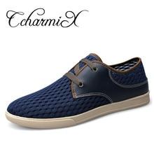 CcharmiX Plus Size Men Casual Shoes Summer Air Mesh Men's Flats Blue Luxury Leather Fashion Sneakers Espadrilles Male Footwear