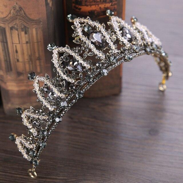DIEZI Baroque Vintage Crystal Wedding Crown Queen Tiara Bride Crown Headband Bridal Accessories Diadem Mariage Hair Jewelry
