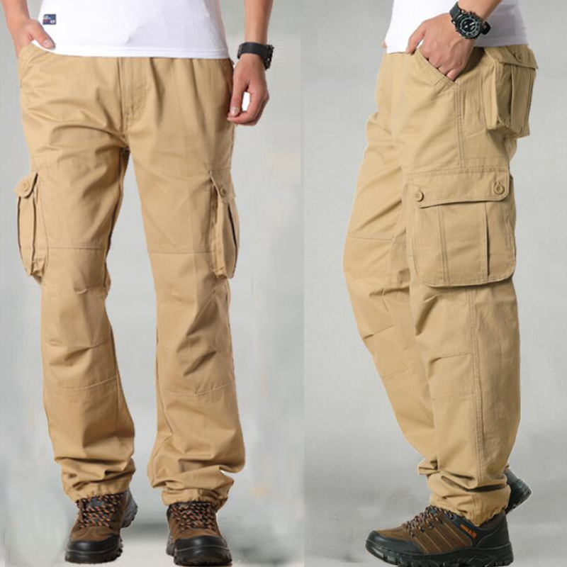 FALIZA Men's Cargo Pants Multi Pockets Military Style Tactical Pants Cotton Men's Outwear Straight Casual Trousers for Men CK102 35