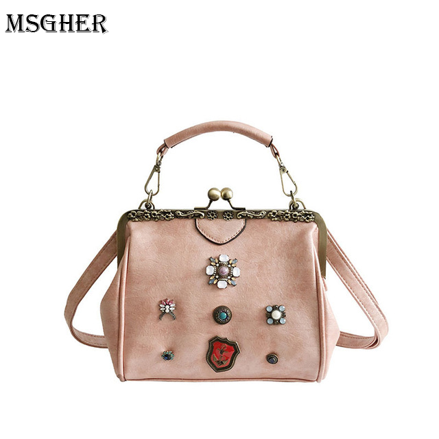 M.S Enamel Crystal Palace Luxury Women Handbags Rivets Hasp Small Hot Crossbody Bags Vintage Designer Shell Party Handbag WB477
