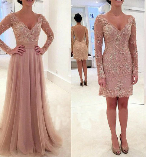 Abiye Gece Elbisesi 2016 Champagne Long Sleeve Evening Dresses Detachable Skirt Backless Lace Cocktail Party Gown Formal Dress