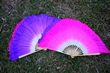 Женский веер для танца живота короткий из шелка розового цвета